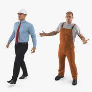 Rigged Construction Engineer and Worker Collection 3d model