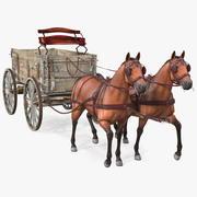 Par Hästar Som Drar Vagn Päls 3d model