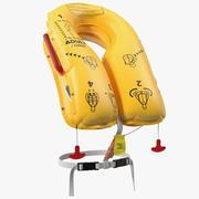Colete salva-vidas inflado da companhia aérea 3d model