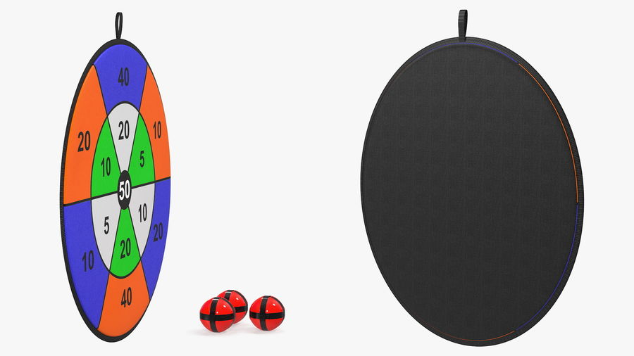 Classic Sticky Target Board Game Set royalty-free 3d model - Preview no. 8