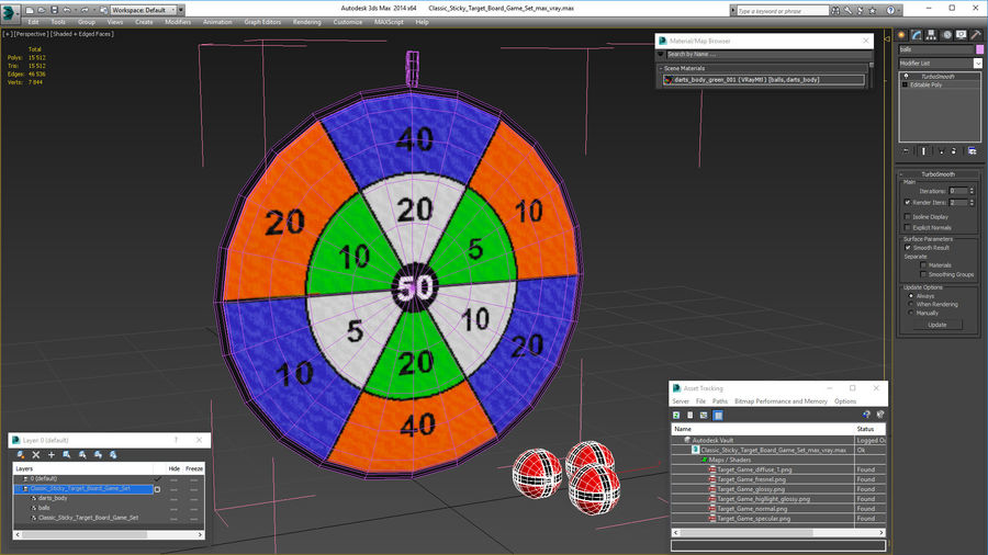Classic Sticky Target Board Game Set royalty-free 3d model - Preview no. 20