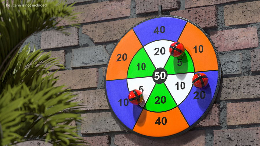 Classic Sticky Target Board Game Set royalty-free 3d model - Preview no. 3