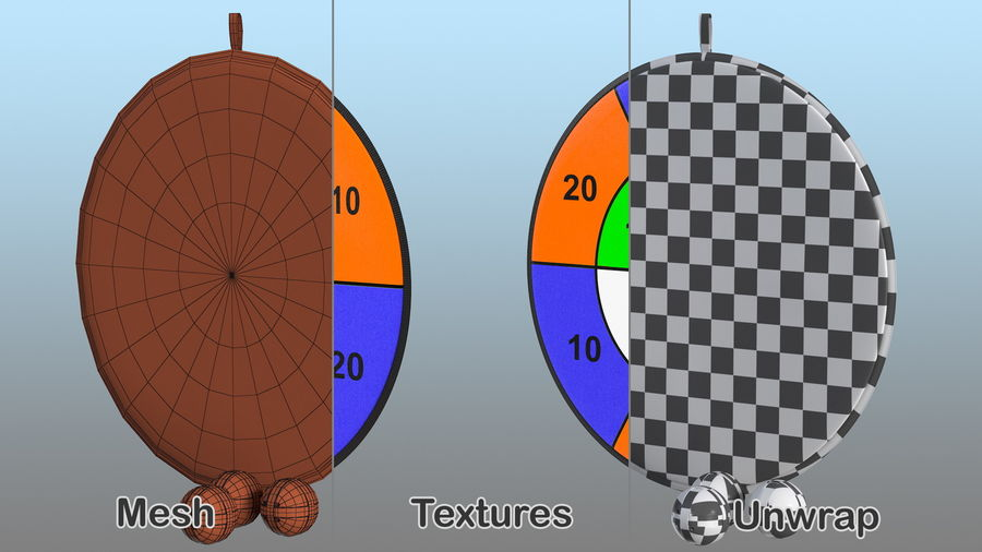Classic Sticky Target Board Game Set royalty-free 3d model - Preview no. 15