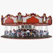 Parkera karusellen med hästar riggade 3d model