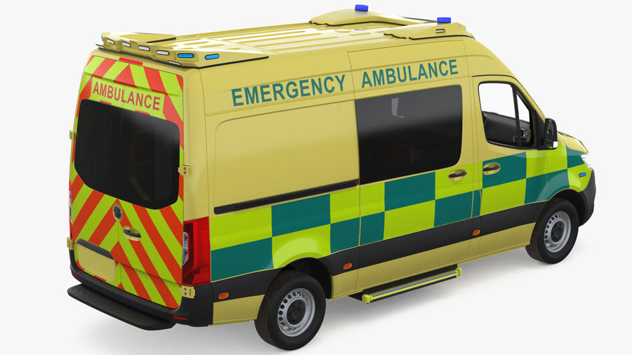 Hospital Building with Emergency Ambulance Collection royalty-free 3d model - Preview no. 5