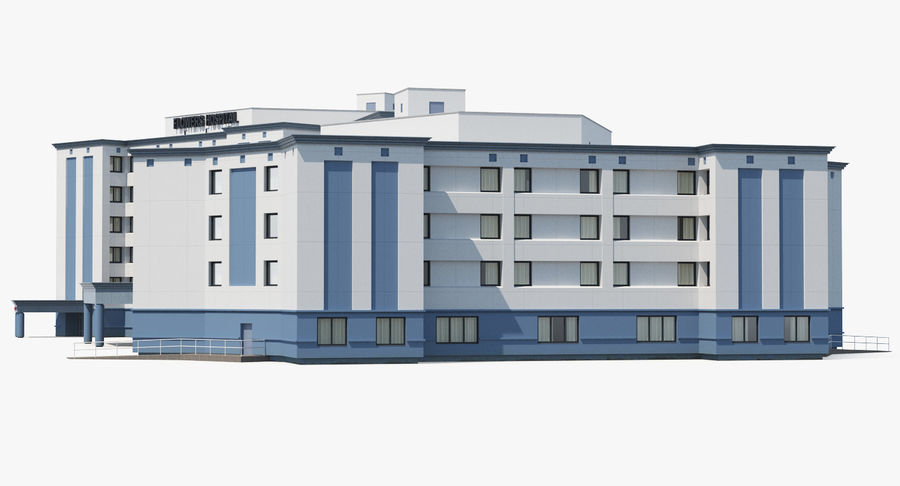 Hospital Building with Emergency Ambulance Collection royalty-free 3d model - Preview no. 21