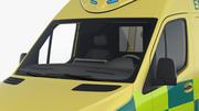 救急車のコレクションが付いている病院の建物 3d model