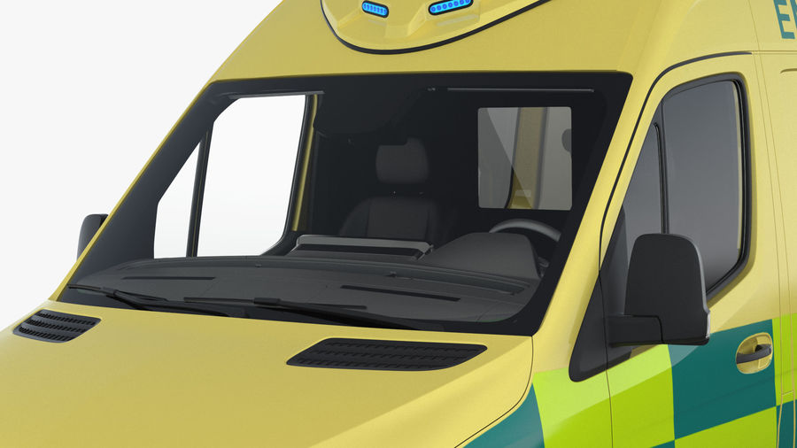 Hospital Building with Emergency Ambulance Collection royalty-free 3d model - Preview no. 1
