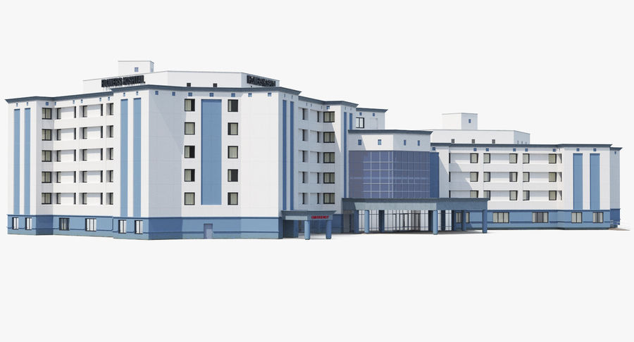 Hospital Building with Emergency Ambulance Collection royalty-free 3d model - Preview no. 20