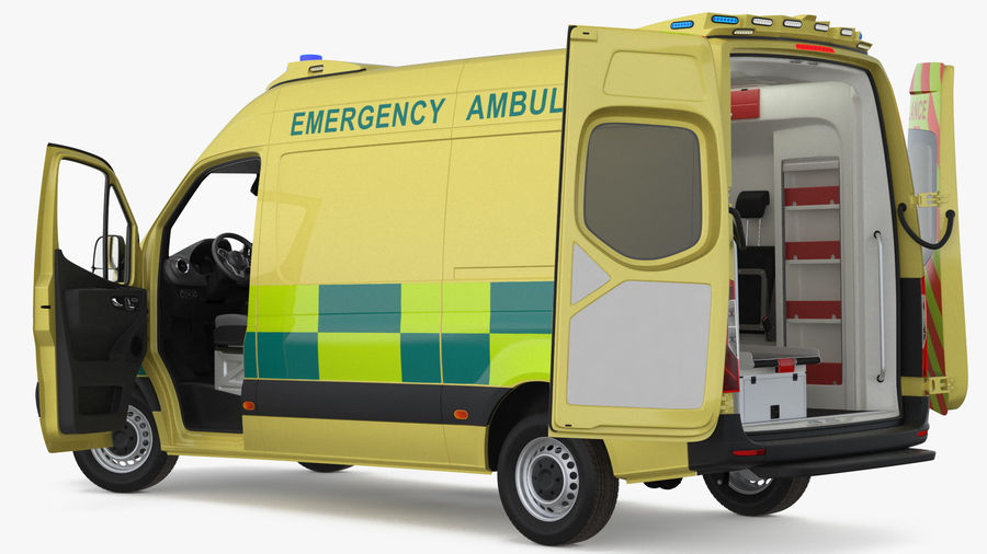 Hospital Building with Emergency Ambulance Collection royalty-free 3d model - Preview no. 6