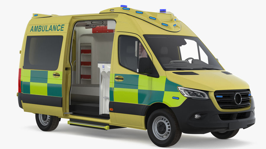 Hospital Building with Emergency Ambulance Collection royalty-free 3d model - Preview no. 2