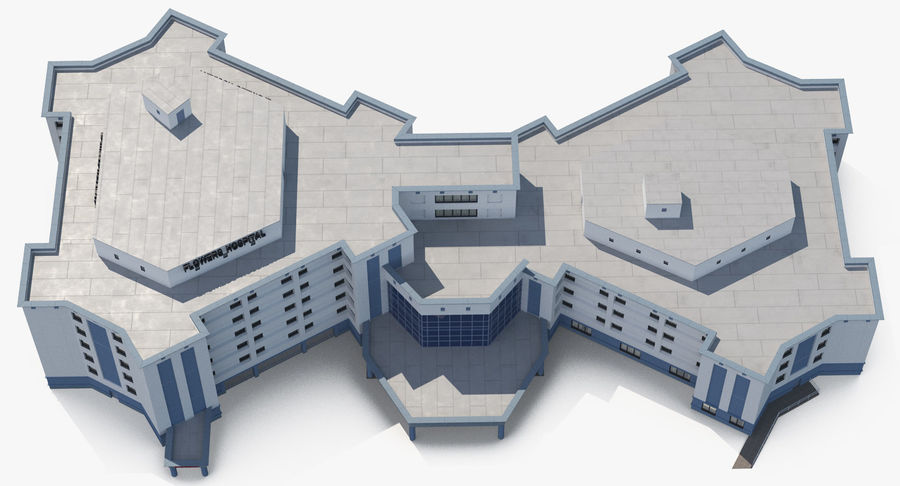Hospital Building with Emergency Ambulance Collection royalty-free 3d model - Preview no. 22