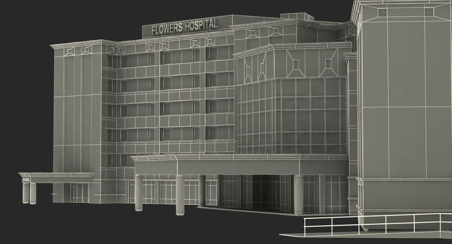 Hospital Building with Emergency Ambulance Collection royalty-free 3d model - Preview no. 35