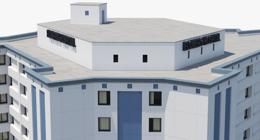 Hospital Building with Emergency Ambulance Collection royalty-free 3d model - Preview no. 28