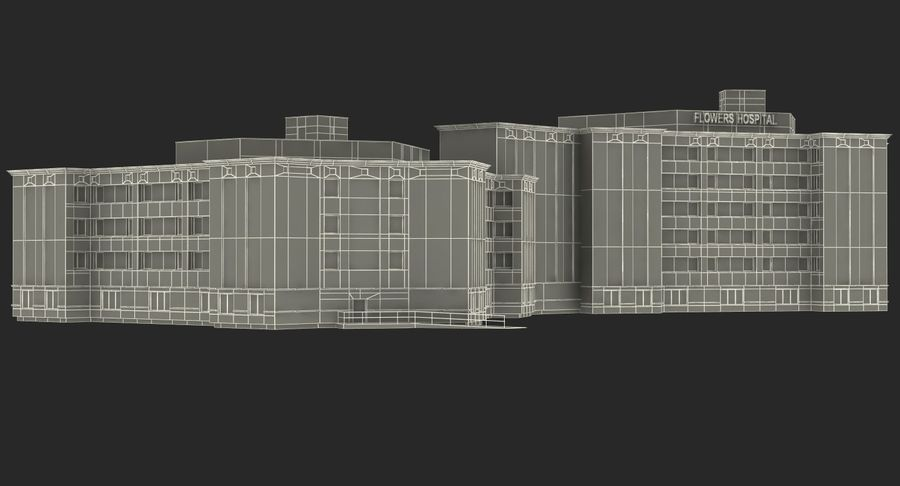 Hospital Building with Emergency Ambulance Collection royalty-free 3d model - Preview no. 33
