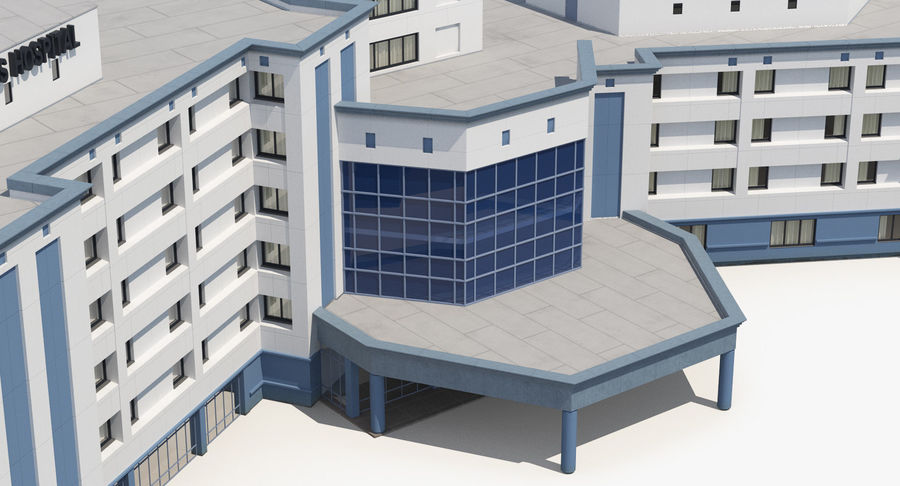 Hospital Building with Emergency Ambulance Collection royalty-free 3d model - Preview no. 25