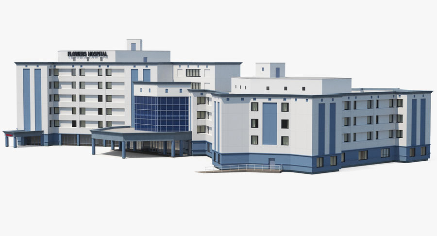 Hospital Building with Emergency Ambulance Collection royalty-free 3d model - Preview no. 19