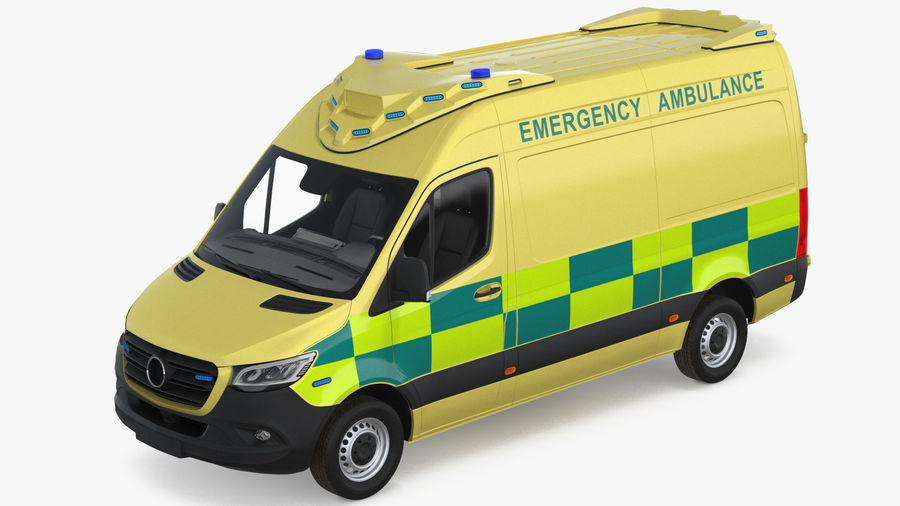Hospital Building with Emergency Ambulance Collection royalty-free 3d model - Preview no. 4
