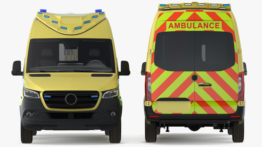 Hospital Building with Emergency Ambulance Collection royalty-free 3d model - Preview no. 7