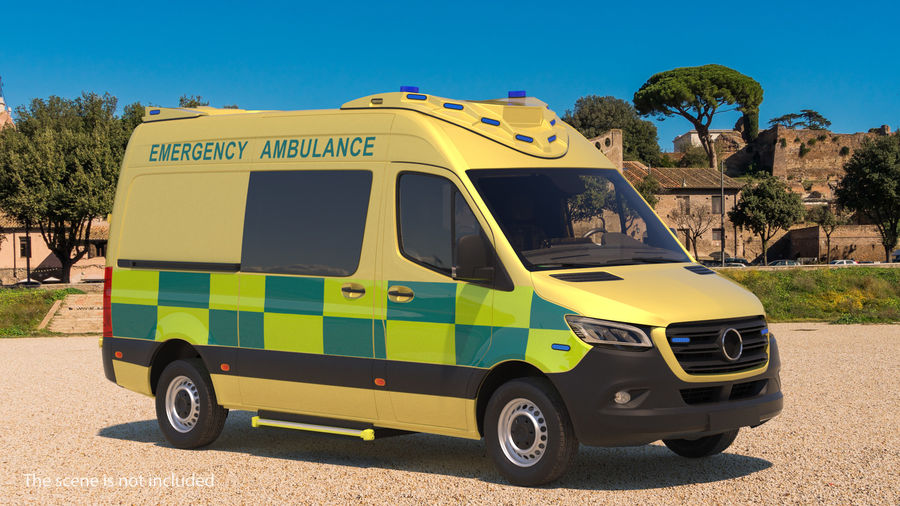 Hospital Building with Emergency Ambulance Collection royalty-free 3d model - Preview no. 3