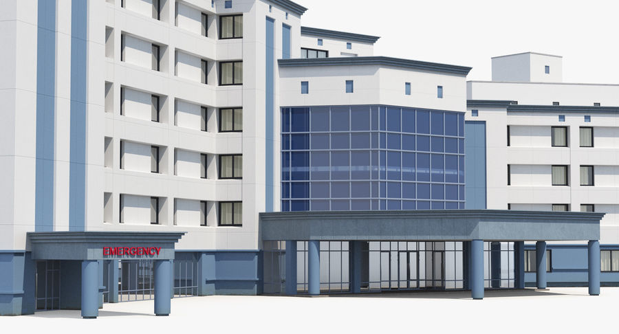 Hospital Building with Emergency Ambulance Collection royalty-free 3d model - Preview no. 23