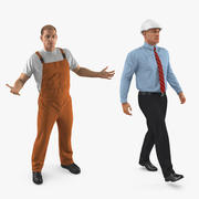 Rigged Construction Engineer and Worker Collection för Cinema 4D 3d model