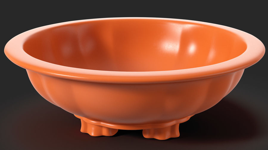 Wide Shallow Flower Pot royalty-free 3d model - Preview no. 7