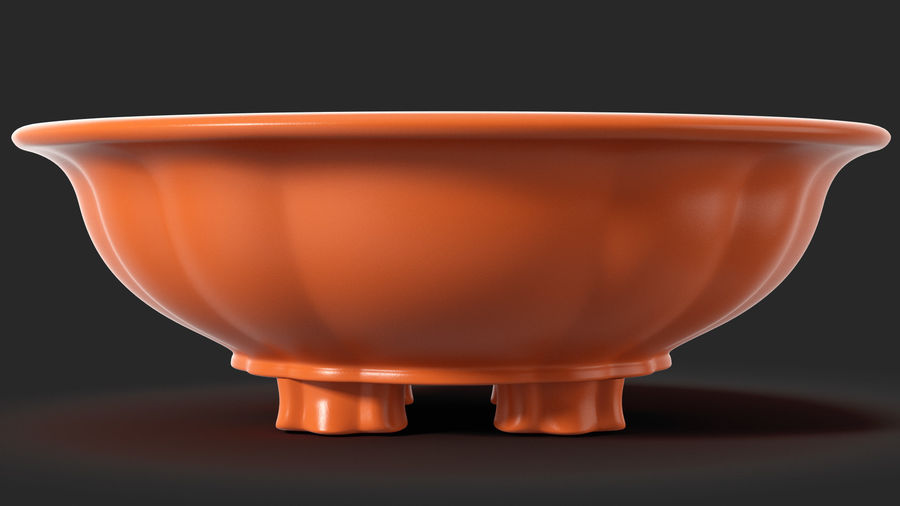 Wide Shallow Flower Pot royalty-free 3d model - Preview no. 4