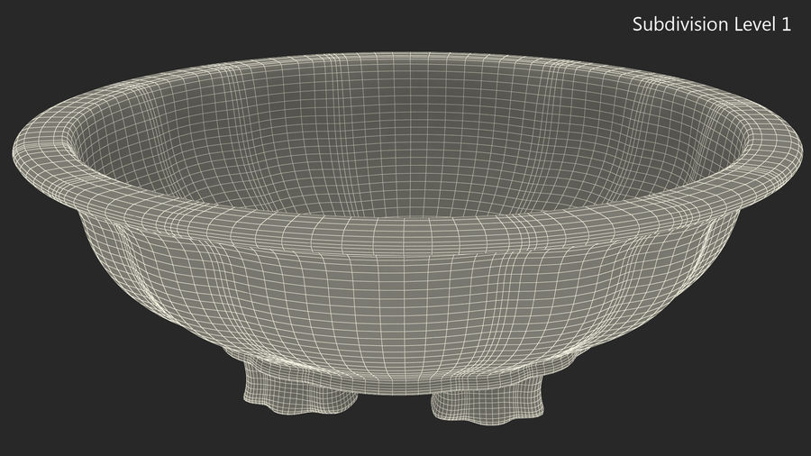 Wide Shallow Flower Pot royalty-free 3d model - Preview no. 12