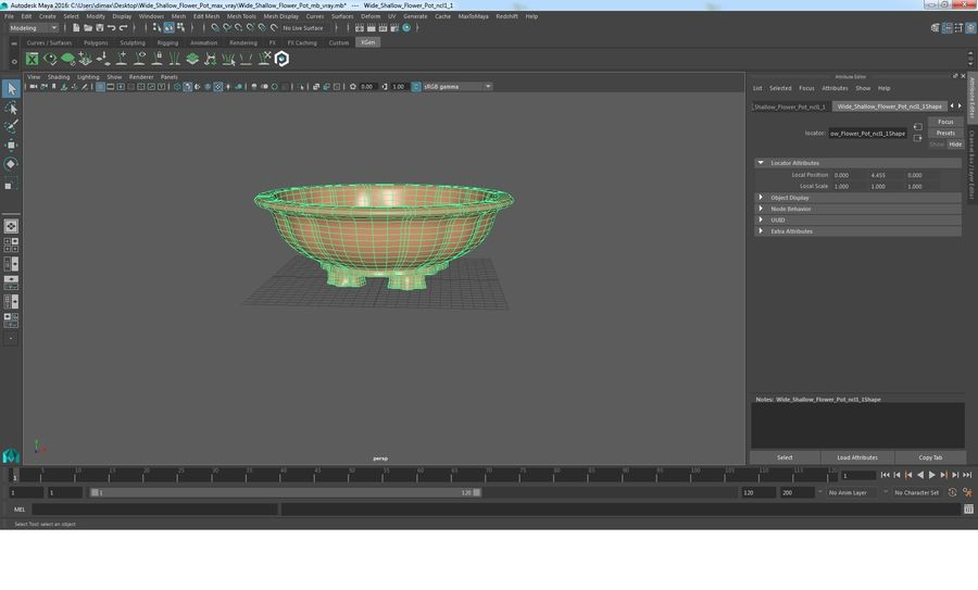 Wide Shallow Flower Pot royalty-free 3d model - Preview no. 23