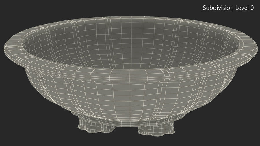 Wide Shallow Flower Pot royalty-free 3d model - Preview no. 11