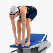 Schwimmerin Animated HQ 001 3d model