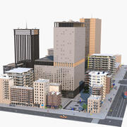 Szczegółowa ulica miasta 3d model