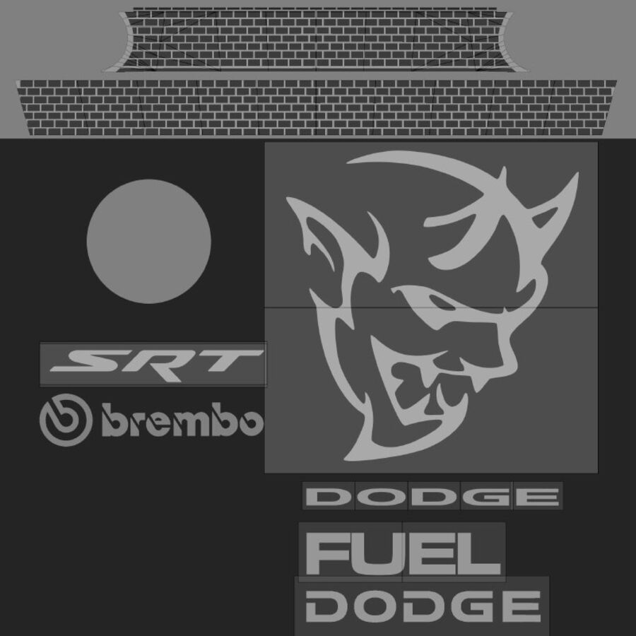 Dodge Demon 2018 royalty-free 3d model - Preview no. 14