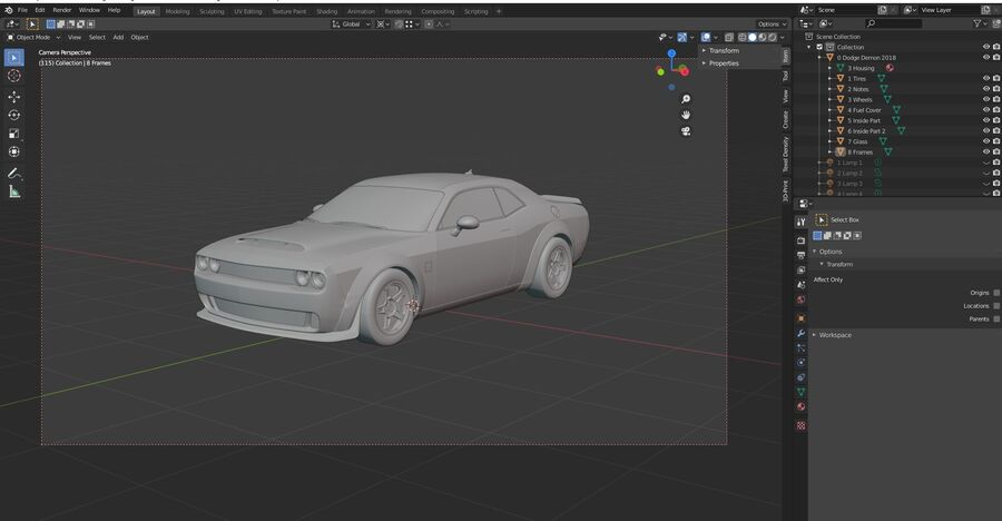 Dodge Demon 2018 royalty-free 3d model - Preview no. 24