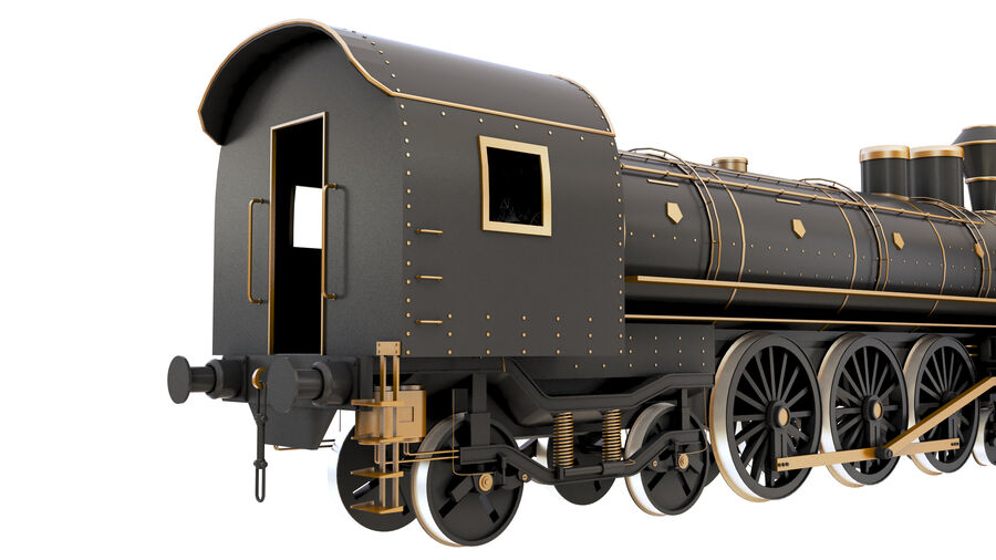 Stora samlingslok och tågvagnar royalty-free 3d model - Preview no. 11