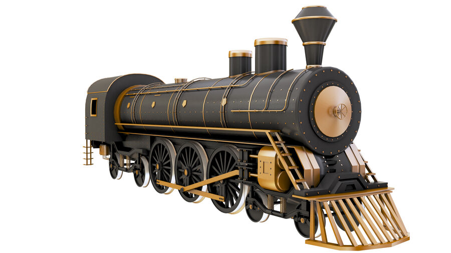 Stora samlingslok och tågvagnar royalty-free 3d model - Preview no. 2