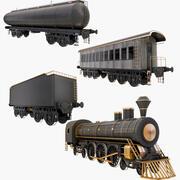 Stora samlingslok och tågvagnar 3d model