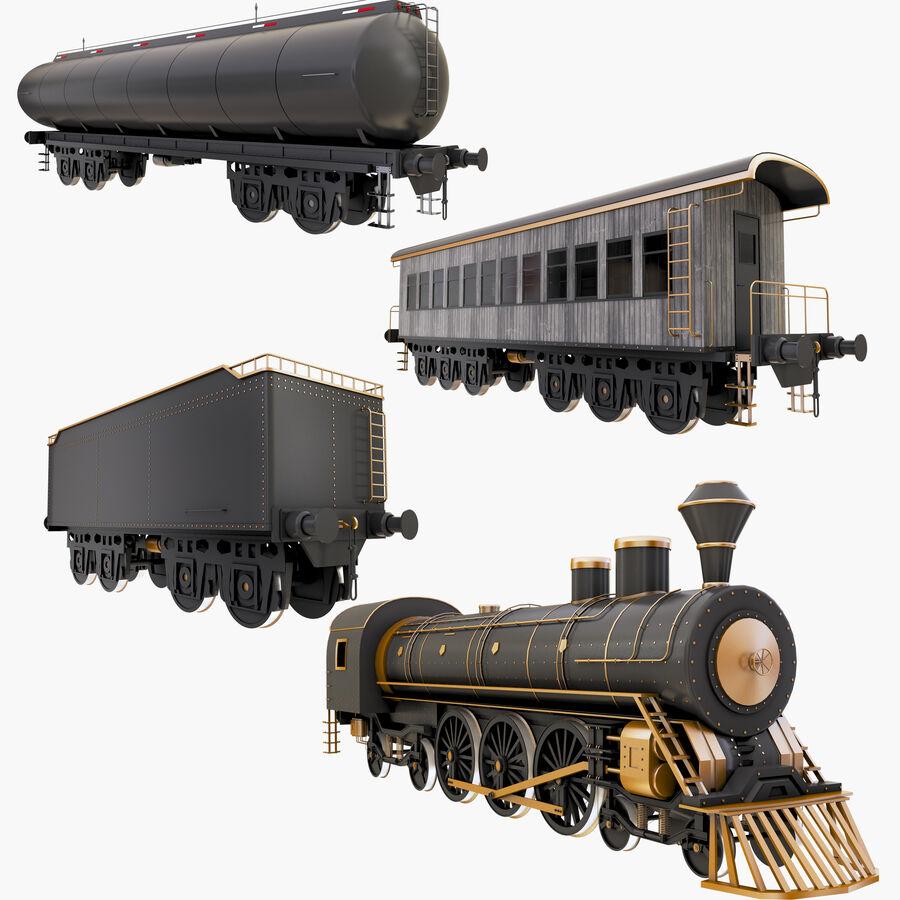 Stora samlingslok och tågvagnar royalty-free 3d model - Preview no. 1