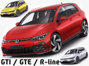 Volkswagen Golf 2020 GTI + GTE + R-line 3d model