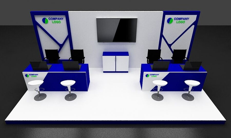 Booth exhibition royalty-free 3d model - Preview no. 11