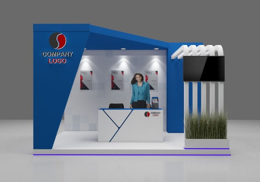 Booth exhibition royalty-free 3d model - Preview no. 4