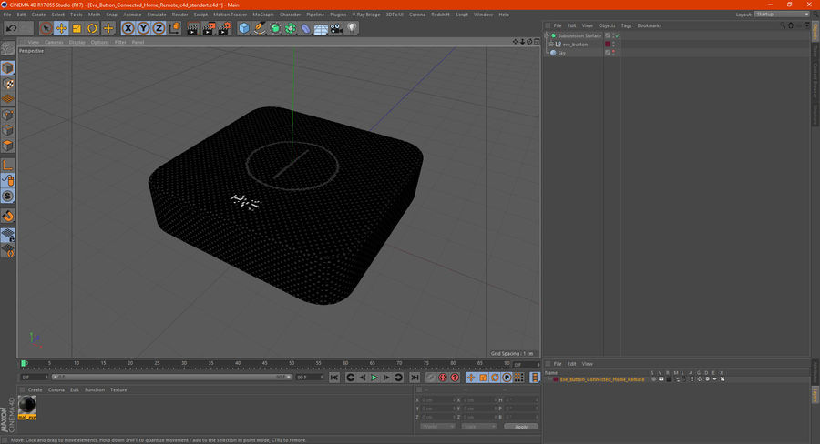 Eve Button Connected Home Remote royalty-free 3d model - Preview no. 15