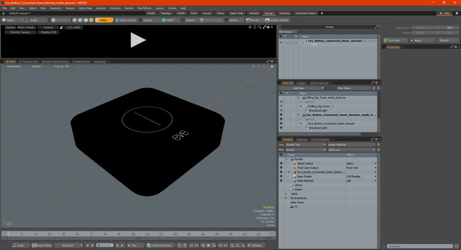 Eve Button Connected Home Remote royalty-free 3d model - Preview no. 16