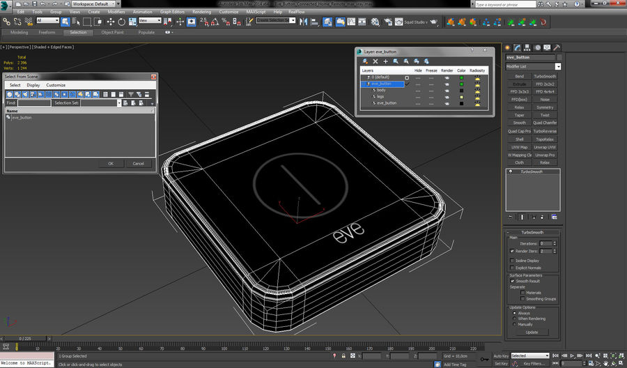Eve Button Connected Home Remote royalty-free 3d model - Preview no. 18