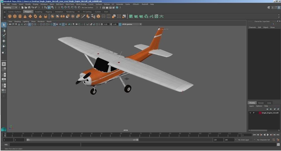 Single Engine Aircraft royalty-free 3d model - Preview no. 30