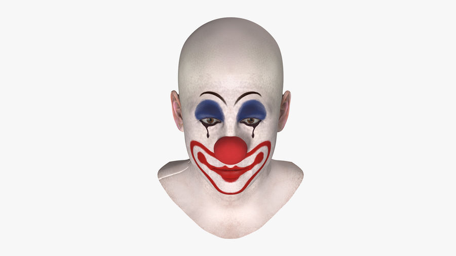 Bald Clown Head royalty-free 3d model - Preview no. 4