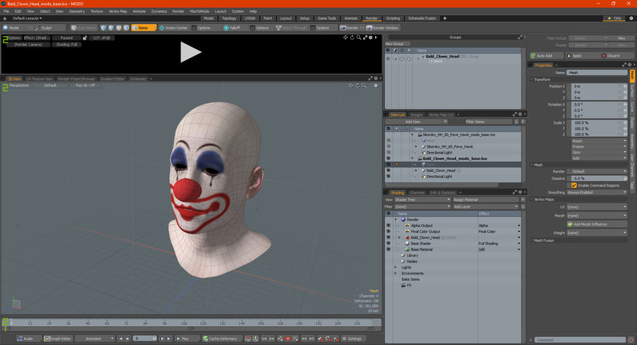 Bald Clown Head royalty-free 3d model - Preview no. 12