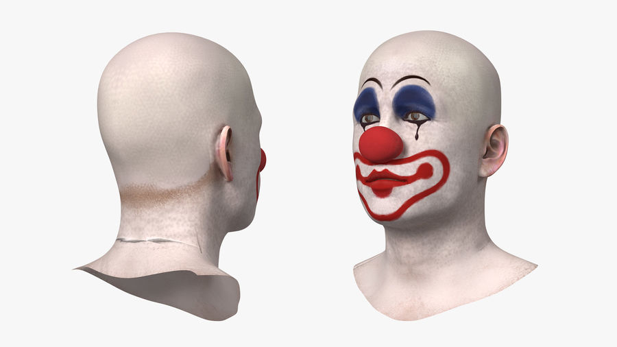 Bald Clown Head royalty-free 3d model - Preview no. 5