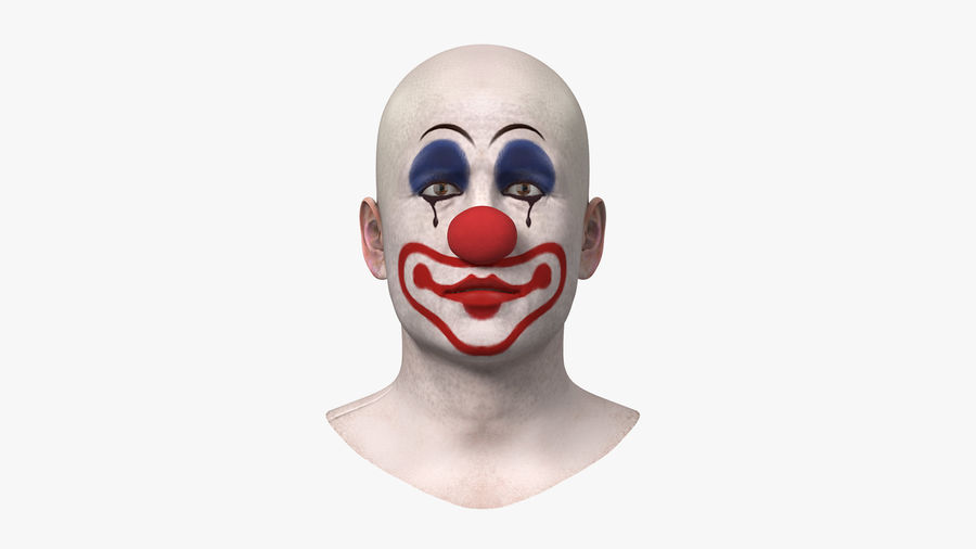 Bald Clown Head royalty-free 3d model - Preview no. 2